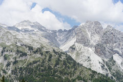 View over Albanian Alps from Valbona Pass. Picture taken during hike from Theth to Valbona, from the summit in the middle of the hike Royalty Free Stock Images
