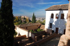 View over the Alhambra from Generalife. View over Alhambra from the Generalife Gardens, Granada stock images