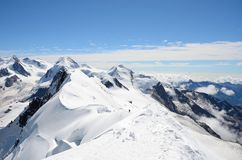View over the Alps from the Breithorn summit, Zermatt, Switzerland Stock Photography