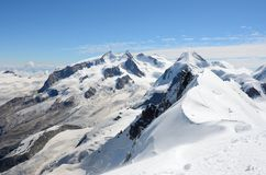 View over the Alps from the Breithorn summit, Zermatt, Switzerland Royalty Free Stock Image