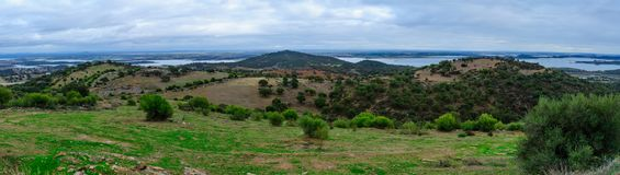 View over Alqueva Lake from Monsaraz. Panoramic view over Alqueva Lake from Monsaraz, Portugal Stock Photo