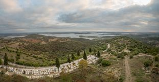 View over Alqueva Lake from Monsaraz. Panoramic view over Alqueva Lake from Monsaraz, Portugal Royalty Free Stock Photo
