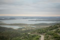 View over Alqueva Lake from Monsaraz. Sunset view over Alqueva Lake from Monsaraz, Portugal Stock Photos