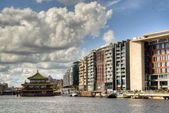 View over the Amstel in Amsterdam Stock Image