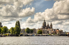 View over the Amstel in Amsterdam Stock Photography