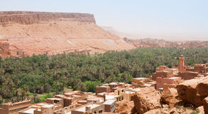 View over the ancient city and oasis of Tinerhir in Morocco. The oasis of Tinghir, Morocco and the ancient city, on the caravan route from the desert to Stock Photos