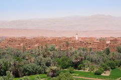 View over the ancient city and oasis of Tinghir in Morocco. The oasis of Tinghir, Morocco, in the middle of summer, with the ancient city in the back Stock Images
