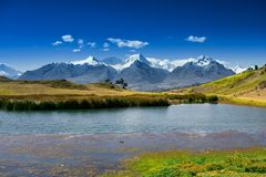 View over the Andes Mountains stock photo