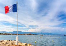 View over Antibes bay from Cap d`Antibes Stock Photo
