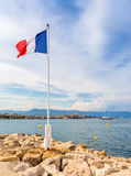 View over Antibes bay from Cap d`Antibes Royalty Free Stock Image