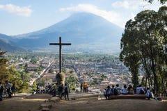 View over Antigua from Cerro de la Cruz, Antigua, Guatemala stock image