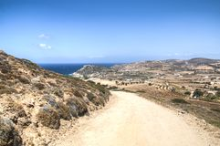 View over Antiparos island, Greece. View over the very scenic island of Antiparos, one of the Cyclade islands in Greece royalty free stock photo