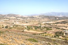 View over Antiparos island, Greece. View over the very scenic island of Antiparos, one of the Cyclade islands in Greece royalty free stock photos