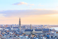 View over Antwerp with cathedral of our lady taken Stock Image
