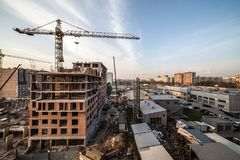 View over apartment building in process of construction Royalty Free Stock Photography