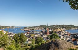 View over Arendal city on a sunny day in june 2018. Arendal is a small town in the south part of Norway Stock Image