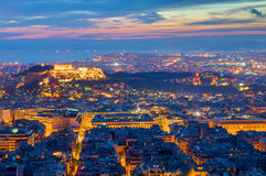 View over Athens at night Stock Photos
