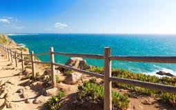 View over Atlantic ocean coast, Cabo da Roka, Portugal. Summer day Stock Photo