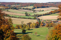 View over an autumn landscape in England. An autumnal view over a landscape in the Chilterns in Oxfordshire, England. Photo taken from Stonor Park. The scene is Stock Image