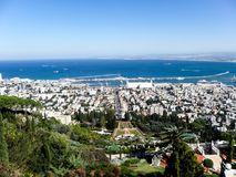 The view over the Bahai gardens in Haifa royalty free stock photography