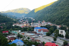View over Baile Herculane spa resort, at September 1, 2017, from Romania. Stock Photos