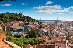 Sao Jorge Castle and Baixa Royalty Free Stock Images