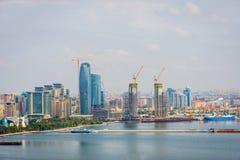 View over Baku, Azerbaijan. View over Baku skyline with Caspian sea, Azerbaijan Royalty Free Stock Photography