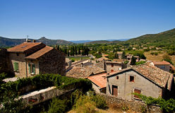View over Balazuc, a town in France Royalty Free Stock Images