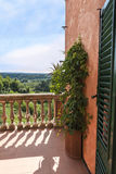 View over balcony to the hills of Tuscany Royalty Free Stock Photo