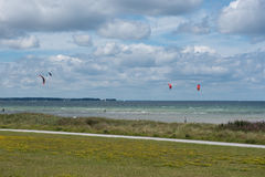 View over the baltic sea with sailboats and kites Royalty Free Stock Image
