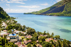 View over the Banda Islands and volcano, Maluku, Indonesia Royalty Free Stock Image