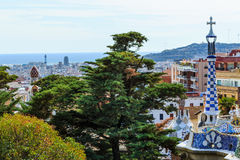 View over Barcelona from famous summer park Guell, Spain Stock Photo