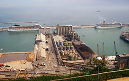 View over Barcelona harbor industry Royalty Free Stock Images