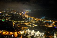 View over the bay in Baku, capital city of Azerbaijan, from the Royal Suite in the Fairmont Hotel Stock Images