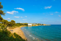 View over a beach in Salou. Coastline Costa Dorada in Salou, Spainwith blue sky copy space Royalty Free Stock Image