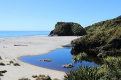 Beach by Ship Creek, West Coast, South Island, NZ. View over the beach at Ship Creek on the West Coast of South Island, New Zealand looking out to the Tasman Sea Royalty Free Stock Images