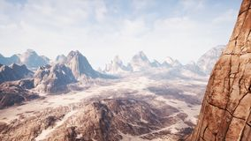 View over a beautiful desert redrock canyon. 3D rendering. View over a beautiful desert redrock canyon royalty free stock photo