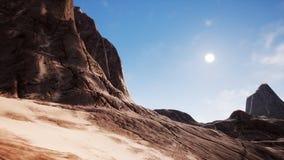 View over a beautiful desert redrock canyon. 3D rendering. View over a beautiful desert redrock canyon stock photos