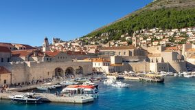 View over beautiful habor in Dubrovnik and peak Srd stock photo