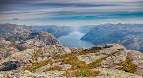 View over beautiful Lysefjord HDR Stock Photography
