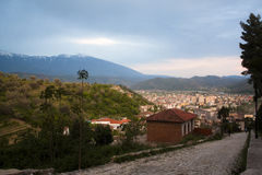 View over Berat, Albania. A view over the city of Berat, Albania with the snowy mountaintops on the background Royalty Free Stock Images