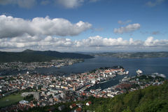 View over Bergen from Mount Floyen Stock Image