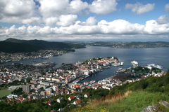 View over Bergen from Mount Floyen Royalty Free Stock Photos