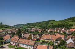 View over Biertan from the tower of the fortified church Stock Image