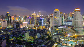 A view over the big asian city of Bangkok. Thailand at nighttime when the tall skyscrapers are illuminated Stock Photo
