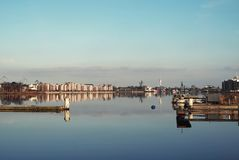 Big harbor in Wilhelmshaven royalty free stock photo