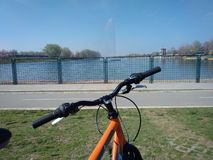 View over a bike to a lake stock photos