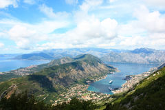 The view over Boca Bay. Overlooking the beautiful bay near the town of Kotor, called Boca Bay, in Montenegro Royalty Free Stock Photography