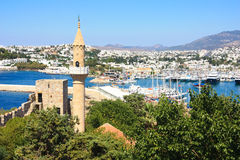 The view over bodrum. The mosque and white washed houses of the popular resort town of bodrum in turkey Royalty Free Stock Image