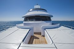 View from bow of a large luxury motor yacht Royalty Free Stock Photo